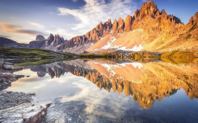 mountain lake, snow, mountains, Alps, Morning