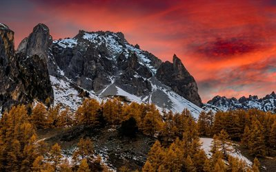 autumn, sunset, mountains, Alps, France, Rock