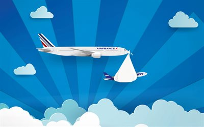 Air France, art, plane, blue sky, AF, AirFrance