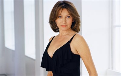 Cherie Lunghi, British actress, 4k, beautiful woman, black dress, fashion model