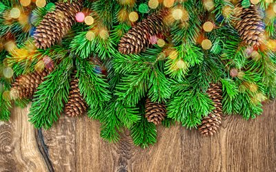 Merry Christmas, christmas tree, bumps, Happy New Year, fir-tree, christmas, xmas, wooden background
