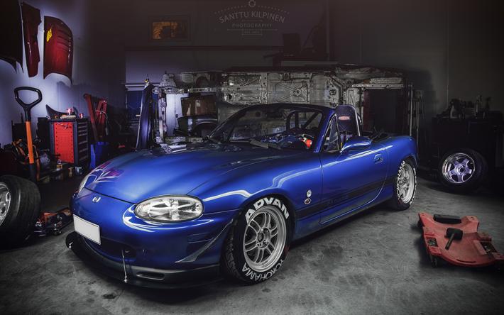 Mazda MX 5 Miata, 4k, Garage, Tuning, Mazda Miata, Japanese