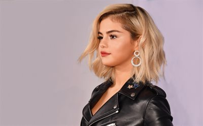 4k, Selena Gomez, blonde, 2017, superstars, american singer, beauty