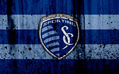 4k, FC Sporting Kansas City, grunge, MLS, soccer, Western Conference, football club, USA, Sporting Kansas City, logo, stone texture, Sporting Kansas City FC