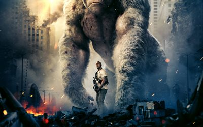 Rampage, 2018, 4k, Dwayne Johnson, Action, Adventure, poster, new movies