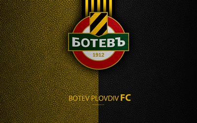 FC Botev Plovdiv, 4k, logo, Bulgarian football club, Plovdiv, Bulgaria, football, leather texture, Parva Liga, Bulgaria Football Championship