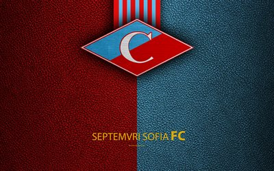FC Septemvri Sofia, 4k, logo, Bulgarian football club, Sofia, Bulgaria, football, leather texture, Parva Liga, Bulgaria Football Championship