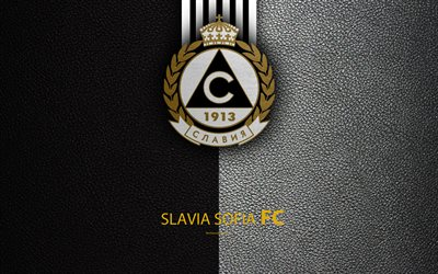 FC Slavia Sofia, 4k, logo, Bulgarian football club, Sofia, Bulgaria, football, leather texture, Parva Liga, Bulgaria Football Championship