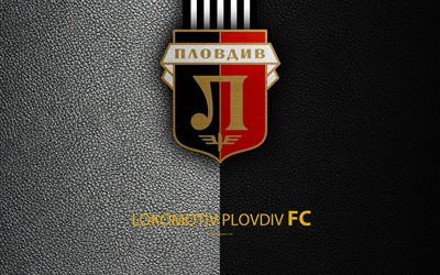 FC Lokomotiv Plovdiv, 4k, logo, Bulgarian football club, Plovdiv, Bulgaria, football, leather texture, Parva Liga, Bulgaria Football Championship