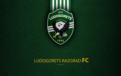 FC Ludogorets, 1945, 4k, logo, Bulgarian football club, Razgrad, Bulgaria, football, leather texture, Parva Liga, Bulgaria Football Championship