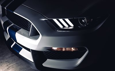 Ford Mustang, 2017, sports coupe, american cars, LED, Mustang Shelby, Ford