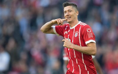 4k, Robert Lewandowski, joy, Bayern Munich, football, Germany, Bundesliga, Polish footballers