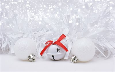 New Year, Christmas, 2018, white Christmas balls, snow, decorations