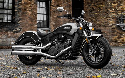 Indian Scout, 2018, Bobber, luxury motorcycle, dual chrome exhaust, black motorcycle, Indian