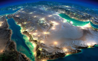 Arabian Peninsula, view from space, night, city lights, Red Sea, Gulf of Aden, Saudi Arabia, Yemen, Oman