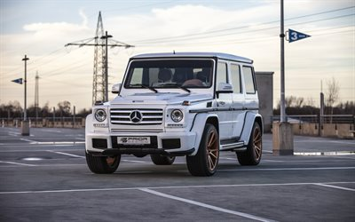 Mercedes-Benz G55 AMG, Prior Design, tuning, luxury brutal SUV, German cars, White G55, Mercedes