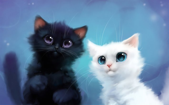 Download Wallpapers Black And White Cats 4k Cute Animals 3d Art Yin And Yang Cartoon Cats White Cat Black Cat For Desktop Free Pictures For Desktop Free