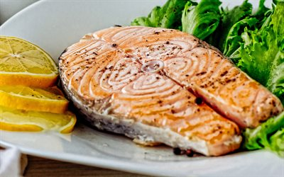 Salmon dishes, grilled salmon steak, fried salmon, salmon with lettuce, fish dishes