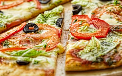 vegetable pizza, vegetarianism, pizza, fast food, pizza with tomatoes and salad