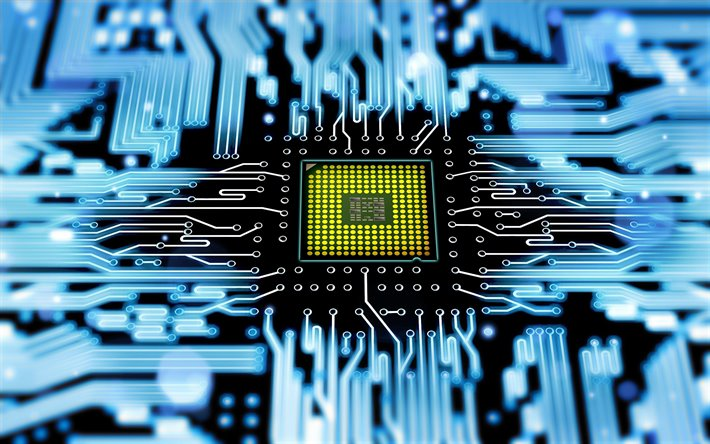 computer chip, 4k, macro, PCB, microcircuit, microchip, green chip, close-up, chip, motherboard