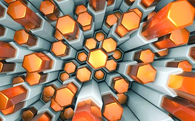 orange hexagone, 4k -, 3d-kunst, hexagon-muster, geometrie, sechsecke, textur, orange sechseckig, geometrische formen