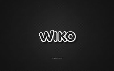 Wiko leather logo, black leather texture, emblem, Wiko, creative art, black background, Wiko logo
