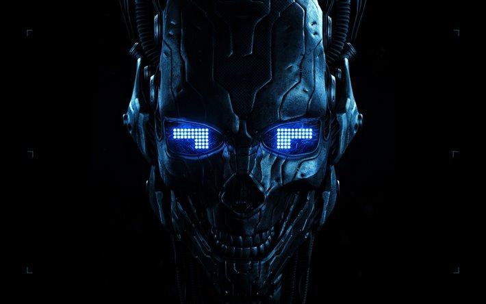 thumb2 robot cyber warrior darkness blue eyes 3d art
