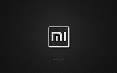 Xiaomi leather logo, black leather texture, emblem, Xiaomi, creative art, black background, Xiaomi logo