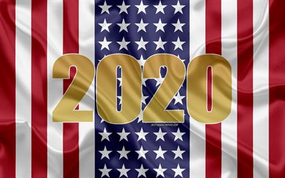 Happy New Year 2020, USA, 2020 USA, New Year 2020, 2020 concepts, USA flag, silk texture, white flag, American flag, Happy New Year USA