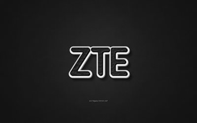 ZTE leather logo, black leather texture, emblem, ZTE, creative art, black background, ZTE logo