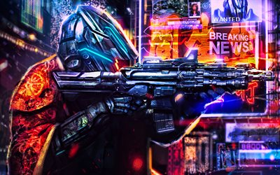 soldier with weapon, 4k, cityscape, fantastic plot, cyber warrior, soldier