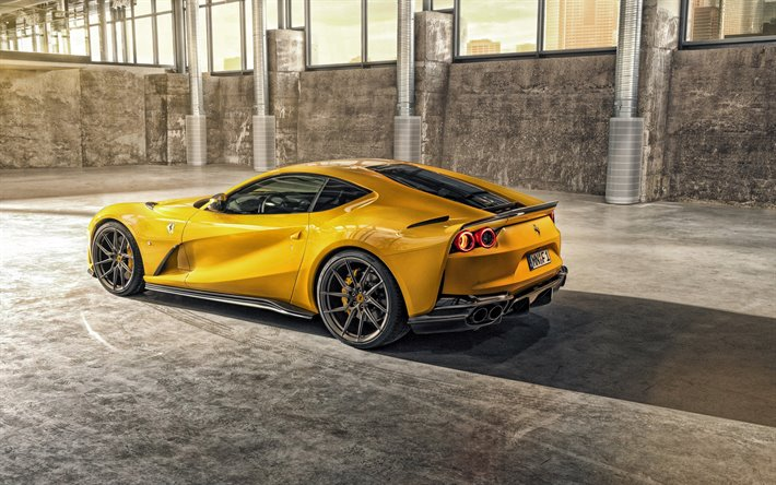 download wallpapers 2020  ferrari 812 superfast  novitec  yellow sports coupe  supercar  new
