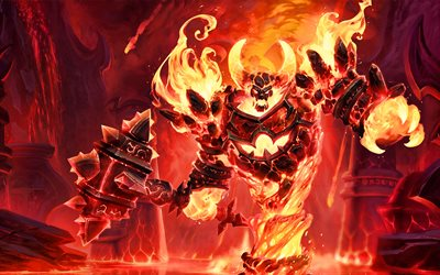 Ragnaros, 2019 pelejä, World of Warcraft, warriors, Ragnaros WoW, kuvitus, hirviö, Vau