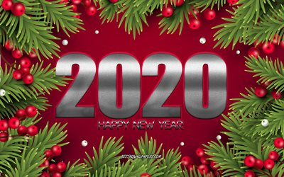 Happy New Year 2020, Red Christmas background, Christmas branches, 2020 Red background, Christmas, New Year 2020, 2020 concepts