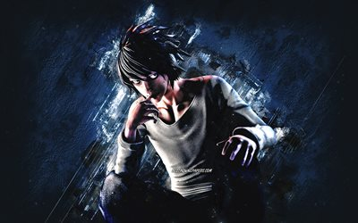 L, Death Note, portrait, anime characters, japanese manga, Death Note characters, blue stone background, L Death Note