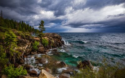 Тахо, Lake Tahoe, coast, storm, storm clouds, waves, California, USA
