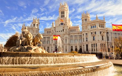 Fountain of Cybele, Madrid, Cybele Palace, Plaza de Cibeles, flag of Spain, Spanish flag on flagpole, beautiful palace, Spain