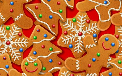 Christmas cookies texture, New Year background, Christmas background, Christmas cookies, red background with Christmas cookies, Christmas texture