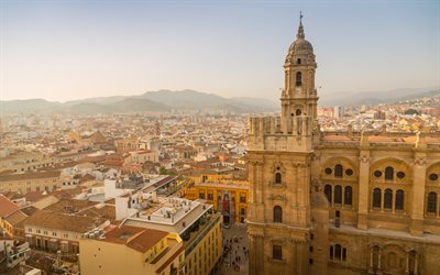 Malaga Cathedral, Malaga, evening, sunset, cityscape, Malaga panorama, Andalusia, Spain