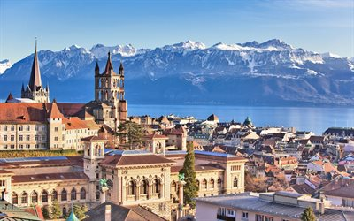 Lake Geneva, Lausanne, morning, sunrise, Alps, mountain landscape, Lausanne cityscape, Switzerland