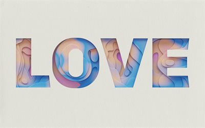 love abstract word, gray paper background, love background, abstract letters