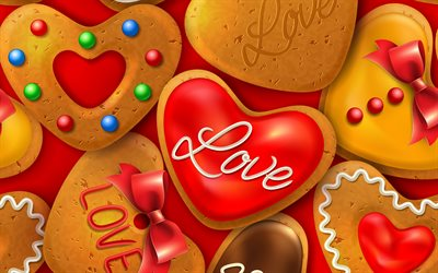 Heart cookies, 4k, red background with cookies, love background, love biscuit background