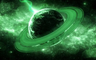 4k, astronomy, green planet, 3D art, planets, solar system, galaxy, sci-fi, spaceship