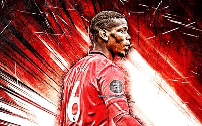 4k, Paul Pogba, red abstract rays, back view, Manchester United FC, french footballers, Premier League, Paul Labile Pogba, grunge art, Paul Pogba Manchester United, Man United, Paul Pogba 4K, soccer, football