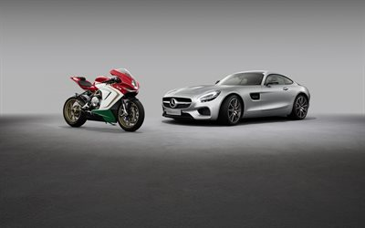 Mercedes-AMG GT Coupе, 2020, MV Agusta F3 800, supercar, racing motorcycle, car or motorcycle, Mercedes