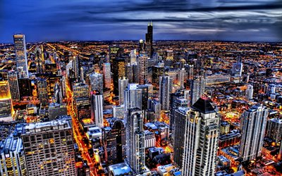 Chicago, skyline cityscapes, HDR, american cities, Illinois, America, Chicago at night, USA, City of Chicago, Cities of Illinois