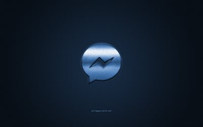 Messenger, social media, Messenger blue logo, blue carbon fiber background, Messenger logo, Messenger emblem
