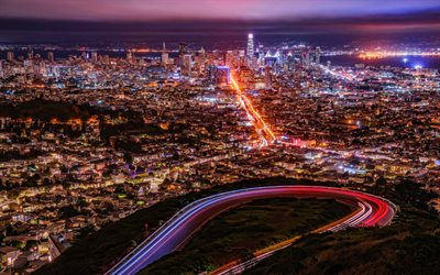 San Francisco, 4k, nightscapes, megapolis, skyline cityscapes, amerian cities, USA, America, San Francisco at night