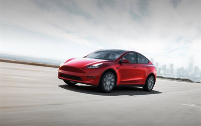 Tesla Model Y, 2021, exterior, front view, electric crossover, new red Model Y, electric cars, Tesla