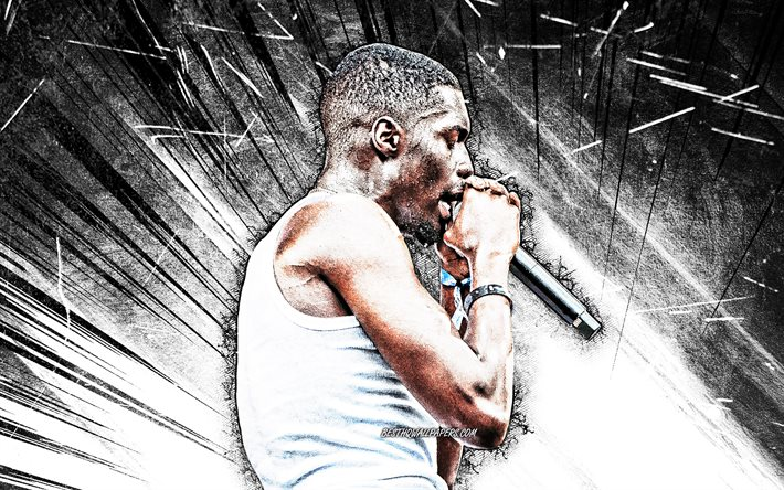 4k, Sheck Wes, grunge art, american rapper, music stars, Sheck Wes with microphone, white abstract rays, Khadimou Rassoul Cheikh Fall, american celebrity, Sheck Wes 4K